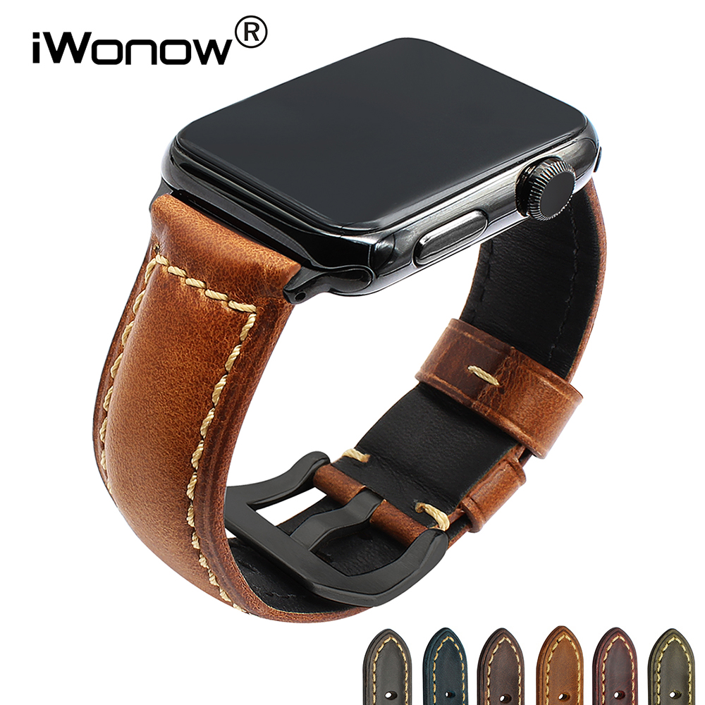 Italy Genuine Leather Watchband Greased Strap for iWatch Apple Watch 38mm 42mm Series 3 2 1 Band Steel Clasp Belt Wrist Bracelet