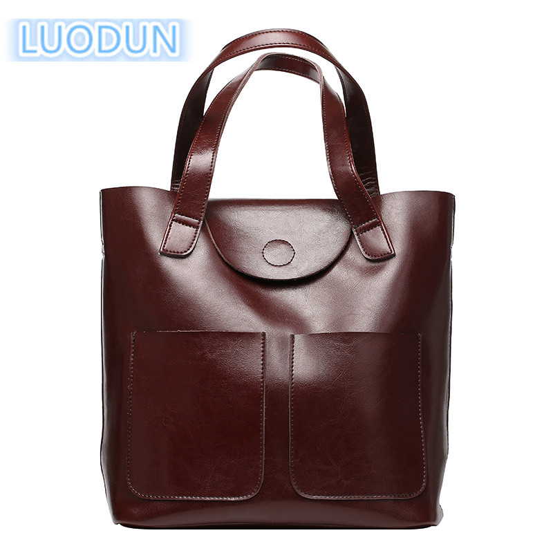 LUODUN 2018 new European and American fashion diagonal female bag oil wax leather bag shoulder bag aetoo the new oil wax cow leather bags real leather bag fashion in europe and america big capacity of the bag
