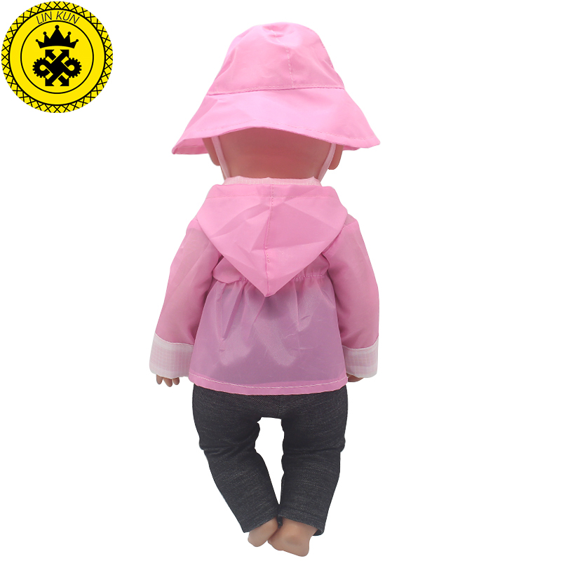 Pink-Raincoat-Hat-Suit-Dress-Doll-Clothes-fit-43cm-Baby-Born-Zapf-Doll-Clothes-and-17-inch-Doll-Accessories-Handmade-501-1