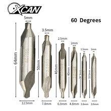XCAN HSS Centro Combinado Brocas Escareadores Grau 60 Ângulo Bit Set 1.0 milímetros 1.5 milímetros 2.0 milímetros 2.5 milímetros 3.5 milímetros 5 milímetros Broca de Metal