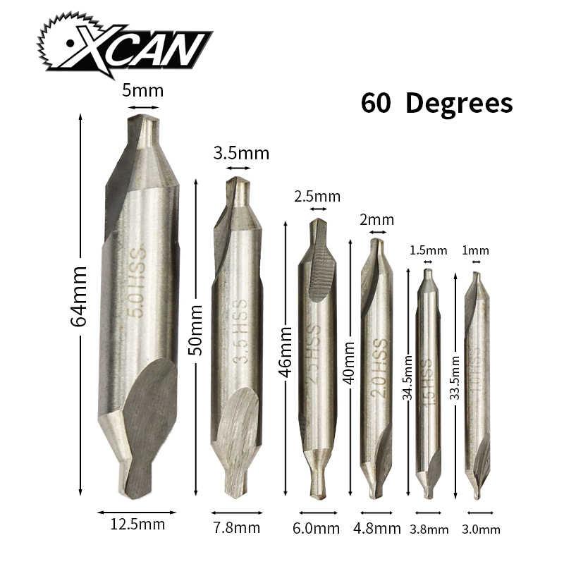 XCAN 6Pcs HSS Kết Hợp Trung Tâm Mũi Khoan 60 Độ Countersinks Góc Bit Bộ 1.0Mm 1.5Mm 2.0Mm 2.5mm 3.5Mm 5Mm Kim Loại Mũi Khoan