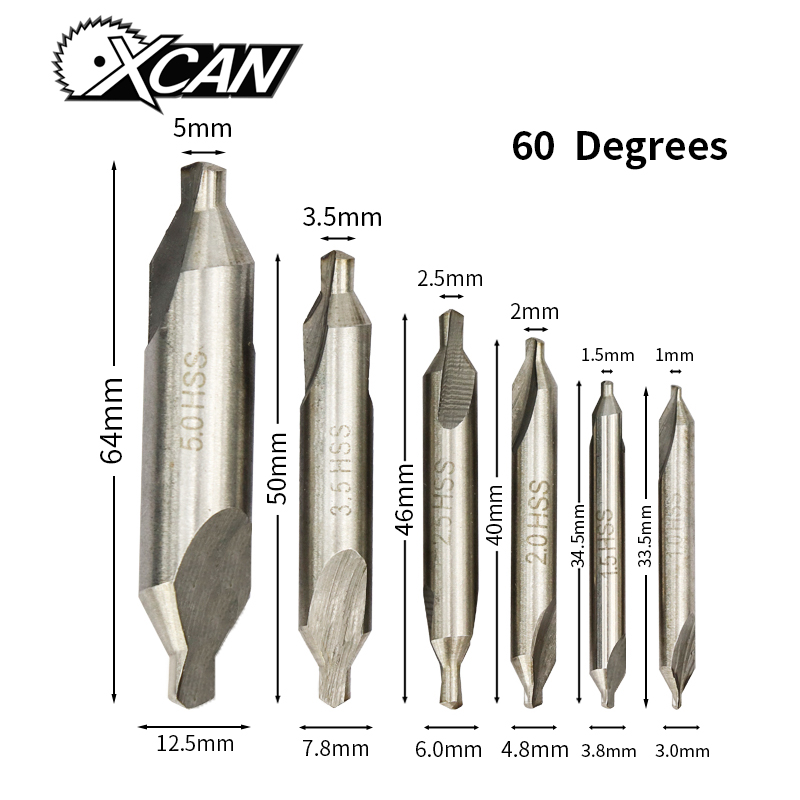 XCAN 6pcs HSS Combined Center Drills 60 Degree Countersinks Angle Bit Set 1.0mm 1.5mm 2.0mm 2.5mm  3.5mm 5mm Metal Drill Bit