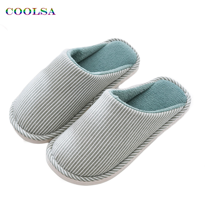 High Quality Winter Men Striped cotton slippers Linen fabric Plush Slides Soft Man Home Slipper Couple Fashion Causal Warm Shoes high quality plush slipper expression men and women slippers winter house shoes one size oct20