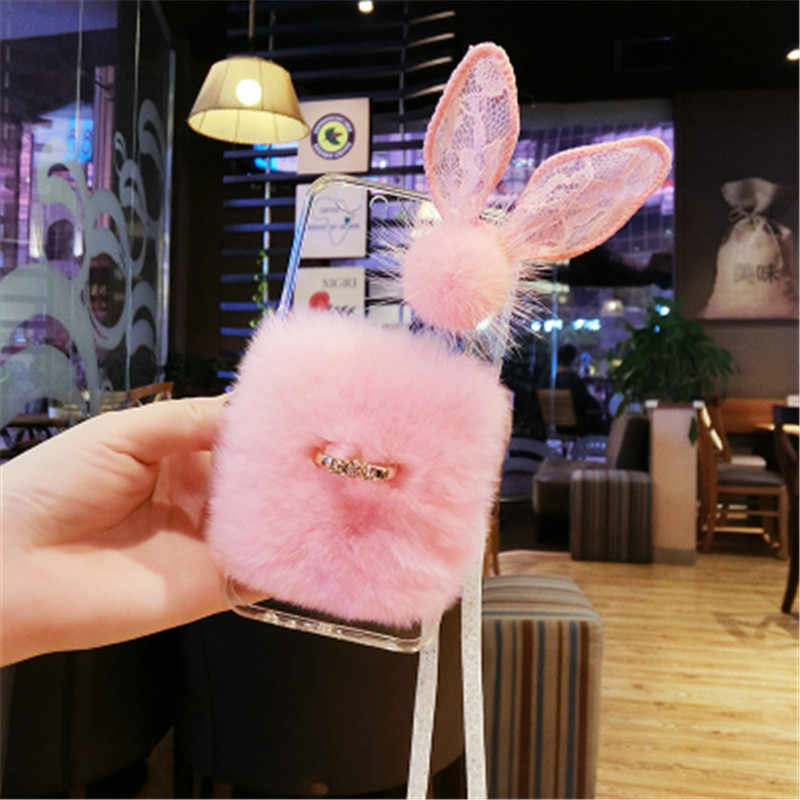 For Xiaomi Redmi 7 6 6A MAX Note 5 plus Note 7 6 pro Luxury rabbit fur buckle lace ear glitter soft phone case cover lanyard