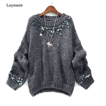 women round neck handmade sequin beading long sleeve pullover sweater