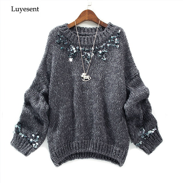 9448d5f8fe0 women round neck handmade sequin beading long sleeve pullover sweater 2019  autumn winter lady top femme mujer casual knit wear