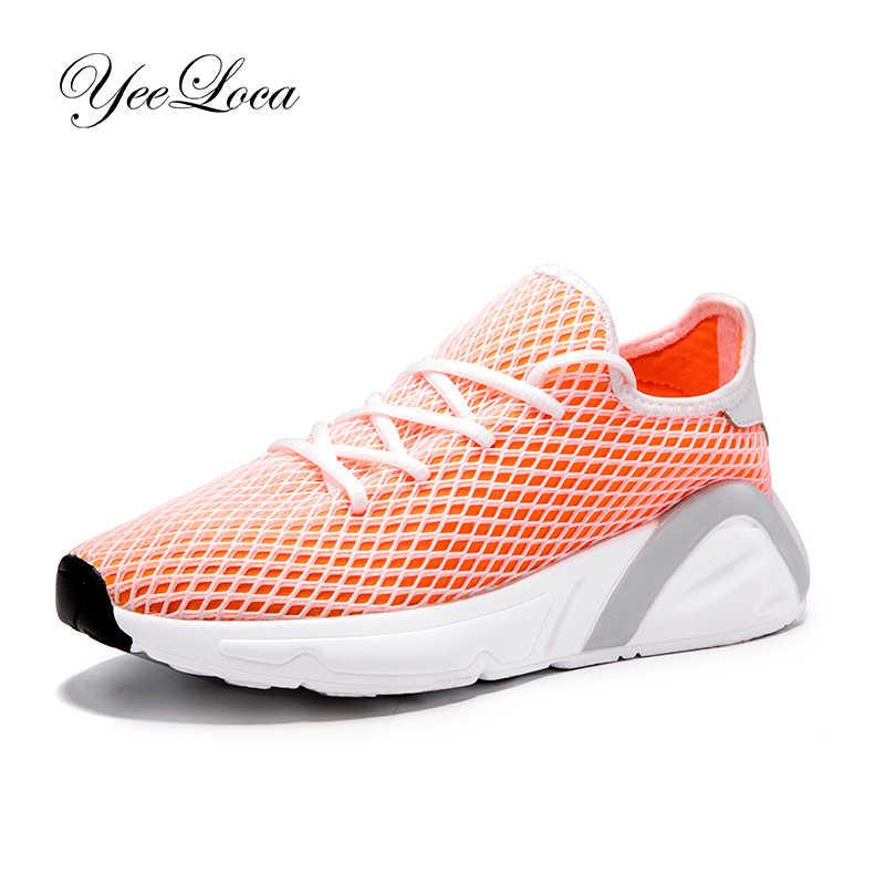Femmes chaussures décontractées mode femmes baskets Orange respirant maille chaussures de marche chaussures plates Basket Femme grande taille 35-44