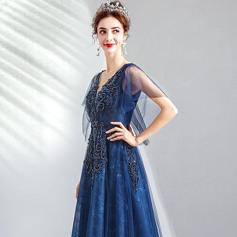 2019 Robe De soirée col en v longue grande taille femmes fête Robe De bal avec manches Vintage bleu Royal dentelle élégante Robe De soirée E223 - 3