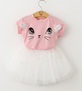Kids Clothes Baby Girls Summer Set Cat Tshirt Top+skirt Suits Children Clothing Toddler Outfits Vetement Enfant Fille Costume