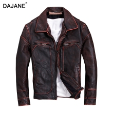 DAJANE 100% genuine leather cowhide granny chic red brown vintage pilot jacket lapels man motorcycle jackets