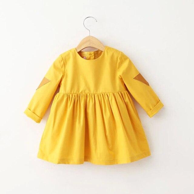 f006cdd055 2016 spring autumn toddler girls tutu dress Mustard yellow baby girls  princess dress casual puff children vestidos suit 2-7T
