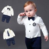 0 24M Lovely Baby Rompers Bebes Infant Newborn Romper Costume Cotton Jumpsuit Gentleman Suit Baby Boys
