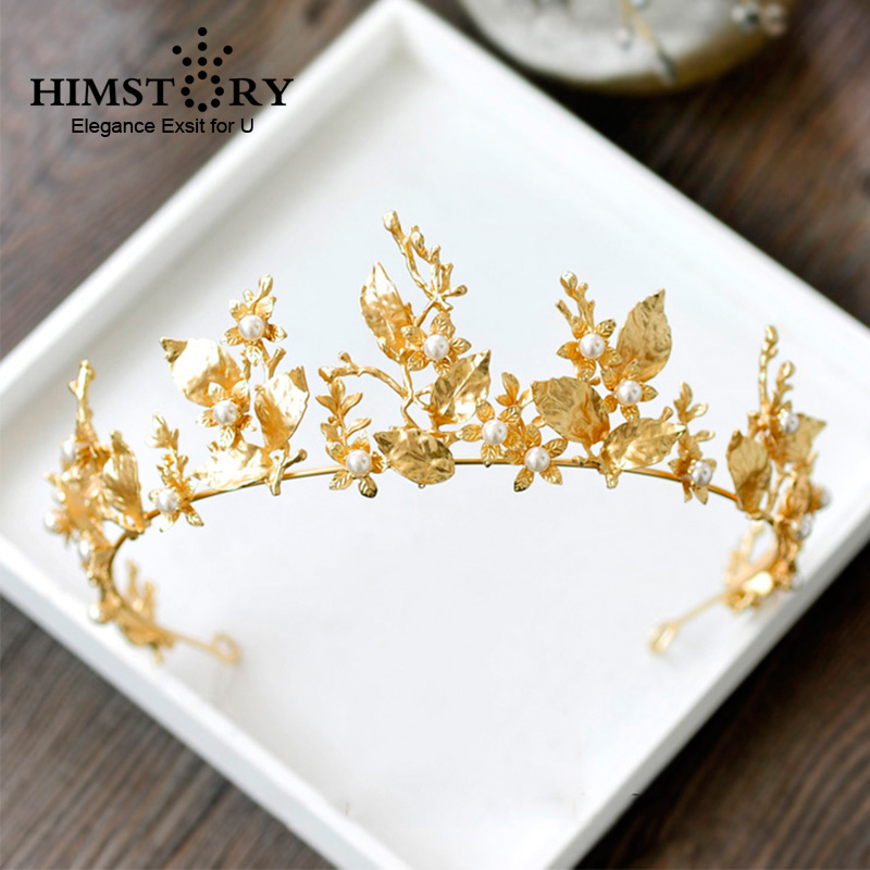 HIMSTORY Gold Leaf Baroque Wedding Crown Tiara Vintage Bridal Hair Piece Accessories Women Party Prom Hairband Headpiece цена 2017