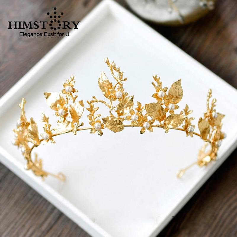HIMSTORY Gold Leaf Baroque Wedding Crown Tiara Vintage Bridal Hair Piece Accessories Women Party Prom Hairband Headpiece