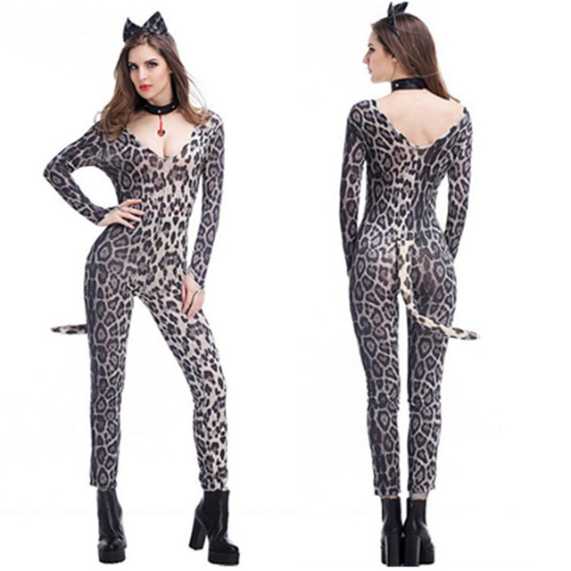 d7f3906a417 Adult Leopard Costume Sexy Women Role-play Wild Leopard Jumpsuit Animal  Bodysuit Cosplay Halloween Party Costume