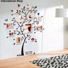 Chic Black Family Photo Frame Tree Butterfly Flower Heart Mural Wall Sticker Living Room Decals Adesivo