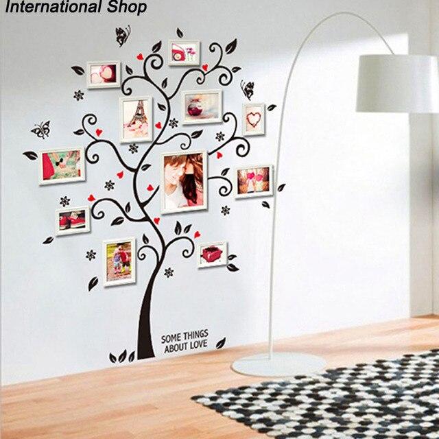 Elegante marco De fotos De la familia negro Flor De mariposa árbol ...