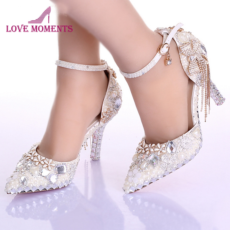 Pointed Toe Ankle Strap Boots Bridal Shoes Ivory Pearl Wedding Party Dress Shoes Rhinestone Pumps for Wedding Events Prom Shoes beyarne free shipping new fashion women sandals 2017 flower crystal summer sandals bohemia casual flat woman shoes