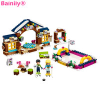 Bainily 328pcs Ski Resort Ice Rink Friends Model Girl S Building Block Toy Compatible With