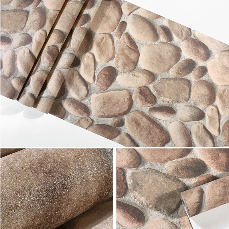 Купить с кэшбэком Modern Chinese Cobble Stone Wallpapers 3D Waterproof Personalized Rock Wall Paper for Hot Pot Restaurant Club Walls foamiran