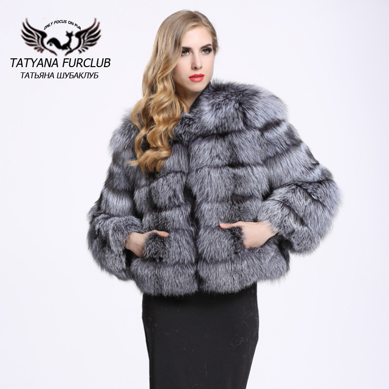 b9a4e7bb0 Top Quality Whole Skin Genuine Silver Fox Fur Coat Women's Sliver Fox Fur  Jacket Real Fur Coats Short Medium Style BF-C0011