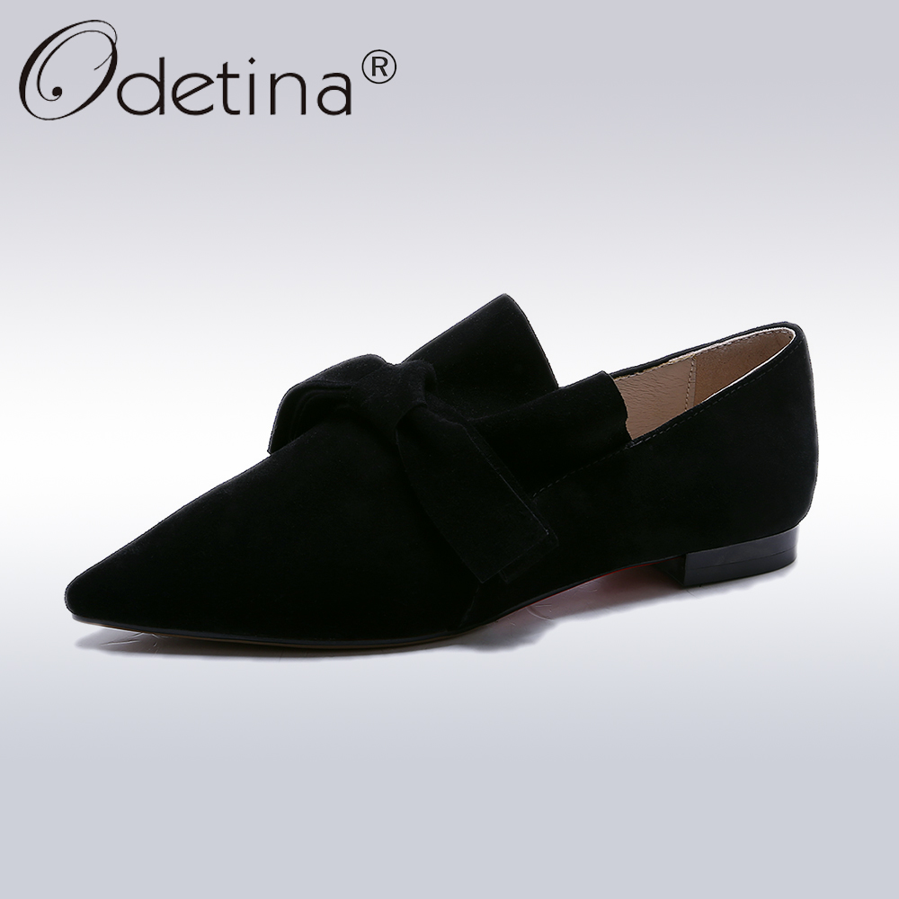 Odetina 2018 New Fashion Spring Bowknot Flats For Women Casual Pointed Toe Shoes Female Simple Slip on Leisure Solid Flat Shoes spring autumn women loafer pointed toe pearl comfortable women flats shoes slip on fashion pu leather women s flat with shoes