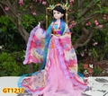 34CM Chinese silk Tang suit ancient costume female celestial dolls house Decorations birthday wedding gifts Wooden Base ningdie