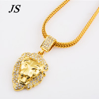 JC 24K Gold Filled Lion Head Neclace Men Hip Hop Dance Charm Franco Chain Male Hiphop