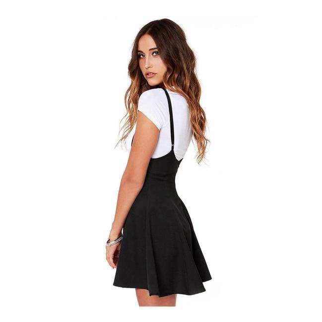 9367653176 2018 Hot Womens Fashion Black Skater Dress with Shoulder Straps Pleated Hem  Braces Dress Saia Femininos Braces Dress Vestidos-in Dresses from Women s  ...