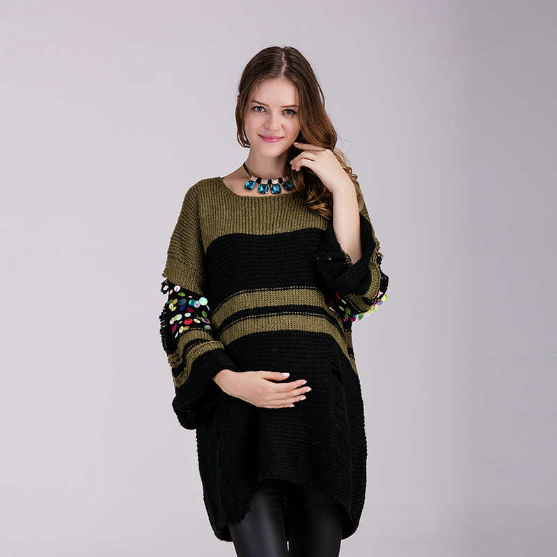 Fashion Maternity Sweaters Paillette Pullover Pregnant Women Sweater Maternity Clothes Winter Autumn Knitting Pregnancy Top стоимость