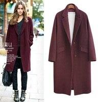 2018 Sonbahar Kış Moda Kadın Yün Ceket Gevşek İmitasyon Kaşmir Giyim Yastıklı Astar Palto xs-5xl