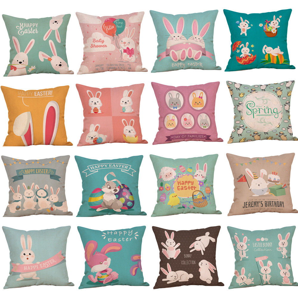 ISHOWTIENDA 2018 Easter Bunny Cotton Square Easter Rabbit Pillow Cover Throw Pillow Case Waist Cushion Cover Home Decor 0115