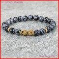 1pc men beaded new design yoga jewelry making 8mm snowflack obsidian stone beads gold/silver skull head elastic strand  bracelet