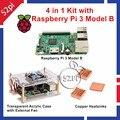 4 в 1 Комплект с Raspberry Pi 3 Модель B + прозрачный Акриловый Чехол Корпус с Внешнего Вентилятора Охлаждения + Медных Радиаторов