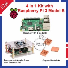 Cheap price 4 in 1 Kit with Raspberry Pi 3 Model B + Transparent Acrylic Case Enclosure with External Cooling Fan + Copper Heatsinks