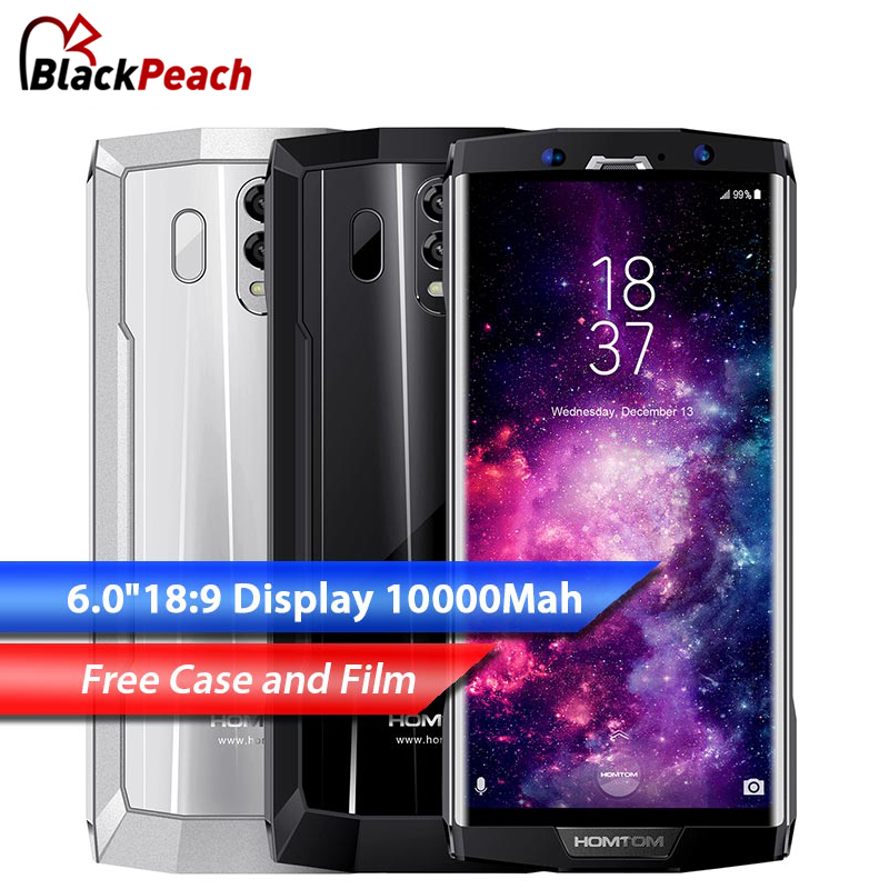 HOMTOM HT70 Mobile Phone MTK6750T Octa Core 4GB RAM 64GB ROM 6.0 HD+ 18:9 Screen 10000mAh Battery 16MP+5MP Dual Cam Smartphone