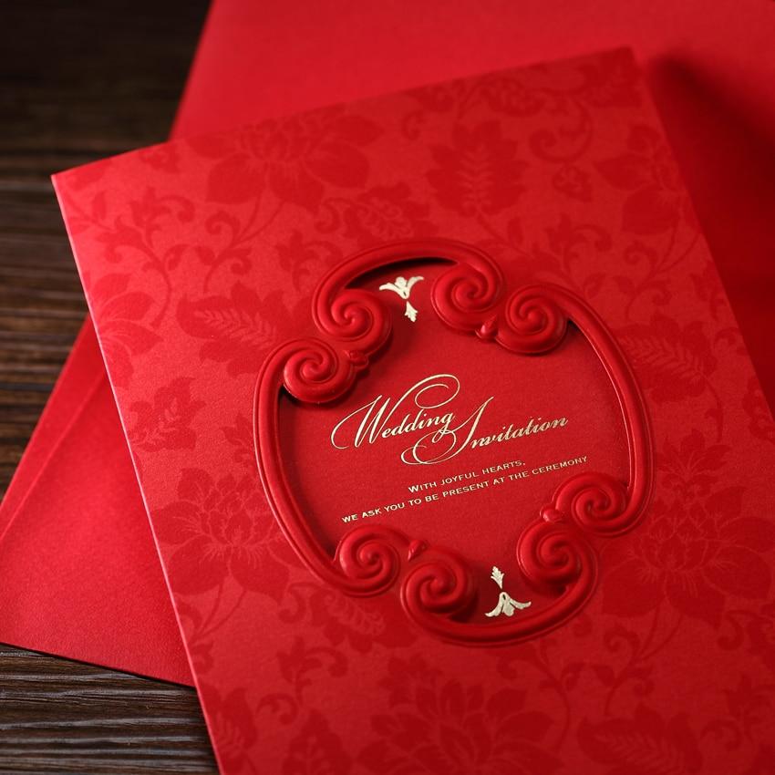 Free Shipping 10pcs Asian Theme Red Wedding Invitations Wishmade