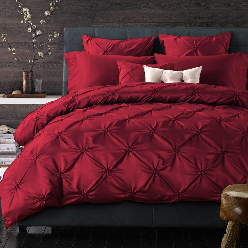Set di biancheria da letto biancheria da letto di lusso seta lavata a pieghe fisher netto re queen size duvet copertura lenzuolo federe 4/6 pcs/vino