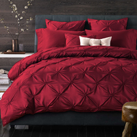 luxury bed linen washed silk pleated fisher net bedding set king queen size duvet cover bed sheet pillow cases 4/6 pcs/wine