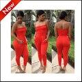 2016 новых женщин комбинезоны сексуальная bodycon комбинезон боди combinaison femme женщины комбинезон длинные брюки красный без бретелек backless