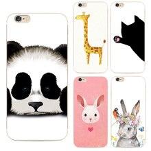 Para Iphone6 moda Animal bonito Panda Tiger coruja caso pintado dos desenhos animados para Apple Iphone 6 6 s macio capa de Silicone telefone celular duro