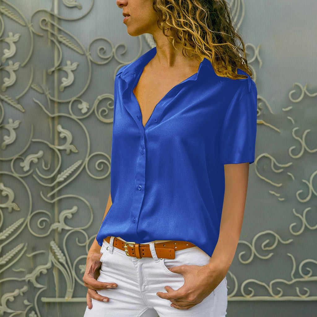 Женские летние блузки с коротким рукавом, отложным воротником, Офисная рубашка на пуговицах, женские шифоновые топы и блузки, топы
