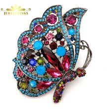 Gorgeous Antique Multi Colored Crystal Winged Profile Big Butterfly Brooches Teal Blue Accent Statement Insect Pins