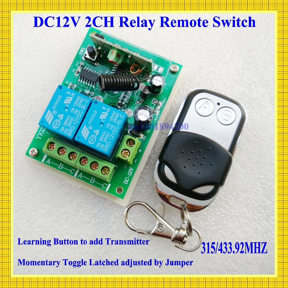 DC 12V 2 CH RF Wireless Remote Control Switches Transmitter+Receiver Learning Code Momentary Toggle Latched 315/433 MHZ TX RX new rf wireless switch wireless remote control system 2transmitter 12receiver 1ch toggle momentary latched learning code 315 433