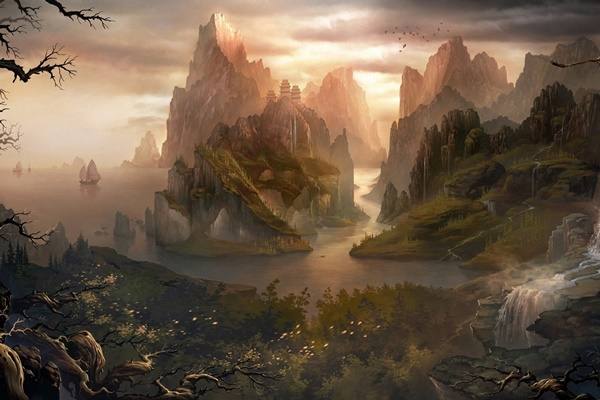 fantasy island mountain landscape nature digital rock water trees hill poster sizes decoration painting print canvas garden