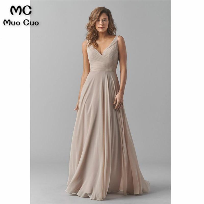 2019 Vintage Bridesmaid Dresses V Neck Wedding Party Dress Pleat Chiffon Sleeveless Prom Bridesmaid Dresses for
