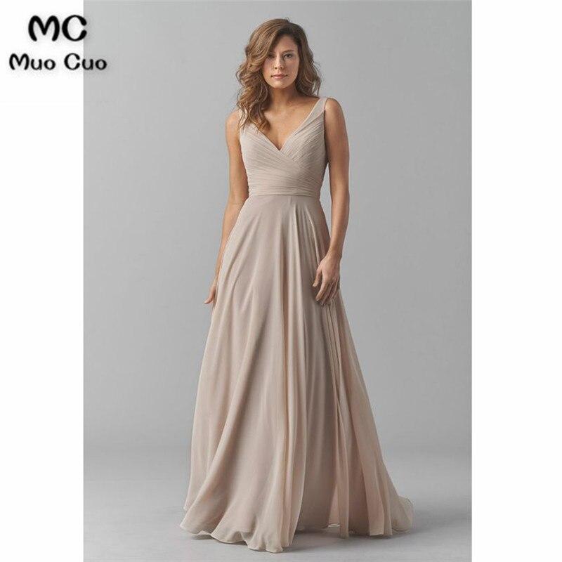2019 robes de demoiselle d'honneur Vintage col en v robe de soirée de mariage plissé en mousseline de soie sans manches robes de demoiselle d'honneur de bal pour les femmes