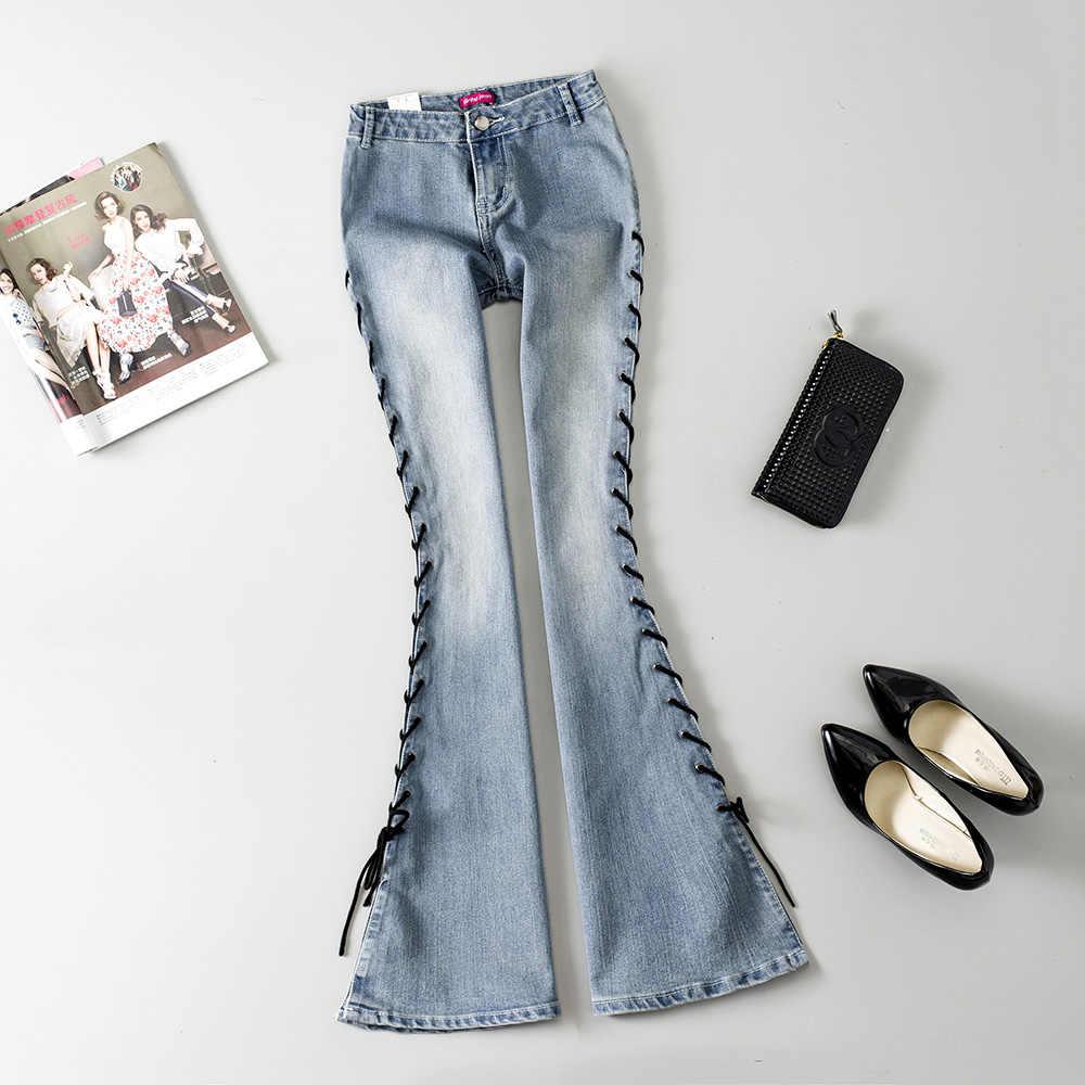 3cf4e190829 2018 New Arrival Woman Aautumn Fashion Placketing Bandage Big Bell Bottom  Jeans Woman Slim Low Waist