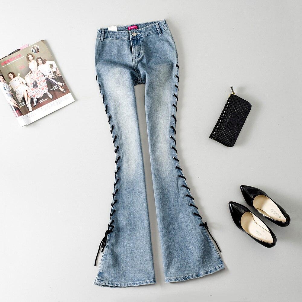 2018 nouveauté femme aautomne mode Bandage de poche grande cloche bas Jeans femme Slim taille basse botte coupe évasée Denim pantalon
