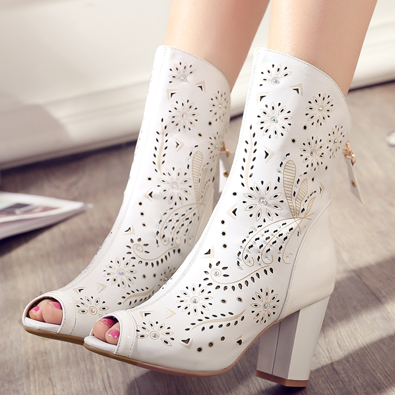 Фотография Women Full Grain Leather Zip Peep Toe Cut Out Summer Ankle Boots Fashion High Heels Sweet Crystal Lady Boots 20170207